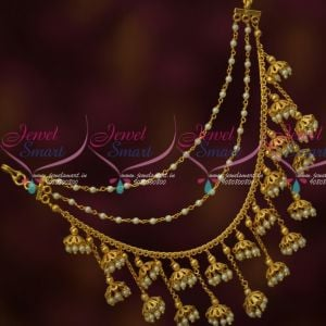 South Indian Fashion Jewellery Ear Chains Bahubaali Movie Style Imitation Collections