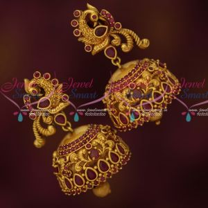 Gold Inspired Jewellery Designs Matte Finish Stylish Jhumka Earrings Online