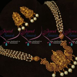 Ruby Temple Jewellery Multi Strand Pearl Mala Laxmi God Pendant Gold Design Exclusive Premium Collections