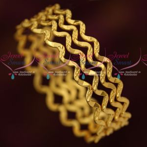 Daily Wear 4 Pcs Set Twisted Design Bangles Fancy Gold Covering Online  Width of each bangle is 5 mm. As shown in picture, this is a set of 4 pcs only.  As shown in picture, the design in each bangle will have a small minor welding joint and without that, the design cannot be completed. Bangle size can be chosen at the drop down menu available near add to cart button. Customers are requested to check the size required before placing order. Base metal is copper and plating colour is gold tone For daily wear,
