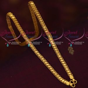 Daily Wear 18 Inches Single Side Fancy Design 5 MM Gold Covering Chains