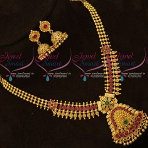 South Indian Fancy Gold Covering Necklace Set Matching Jhumka Earrings