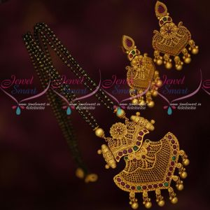Black Beads Chain Pendant Short Mangalsutra Premium Jewellery Designs Online