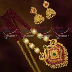 Crystal Pearl Floral Caps Kemp Pendant Jhumka Earrings Fashion Necklace Online