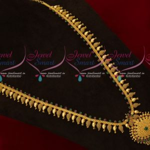Ruby Emerald Gold Plated Mango Haram South Indian Traditional Designs Jewelry