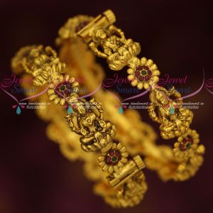 Antique Dull Gold Plated Temple Screw Open Bangles Traditional Jewellery Online