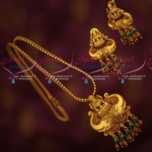 Fancy Chain Temple Pendant Crystal Drops Latest Antique Reddish Matte Jewellery