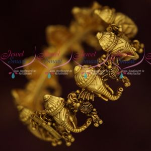 Antique Temple Jewellery Matte Gold Plated Lord Ganapathy Design Kada Bangles
