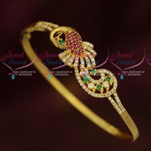 Peacock Design Fancy Bracelets AD Sparkling Gold Design Jewellery Designs