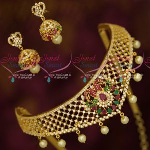 Latest AD Gold Plated Jewellery Small Choker Necklace Lowest Prices Online