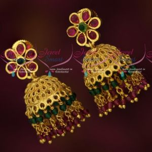 Small Jhumka Crystal Handmade Bead Danglers Gold Design Earrings