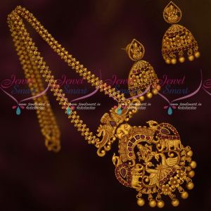 Ruby Stones Ghajiri Chain Matte Gold Plated Traditional Temple Jewellery Pendant Earrings