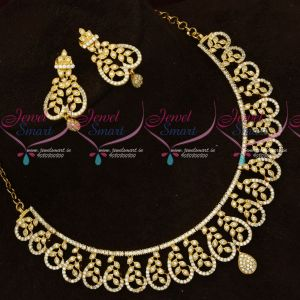 AD Sparkling White Stones Fancy Design Necklace Set Imitation Jewellery Online