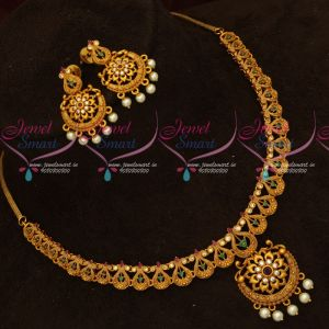 Intricately Designed Antique Jewellery Set Matte Reddish Gold Look New Collections