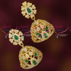 Emerald Green White AD Stones Fashion Jewellery Gold Plated Jhumkas