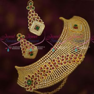 Diamond Finish Bridal Choker Dazzling Jewellery Designs Ruby Emerald White Stones