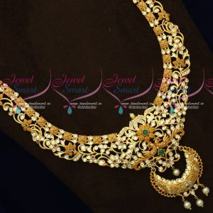 Latest Fashion Jewellery Dual Gheru Matte Gold Peacock AD Stones Haram Set