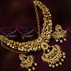 Imitation Jewellery Floral Design Gheru Gold Plated AD Stones Neclace Set