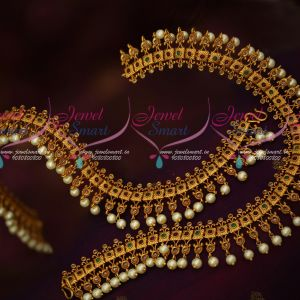 Matte Gold Intricately Designed Anklets Payal AD Stones Pearl Drops Party Wear