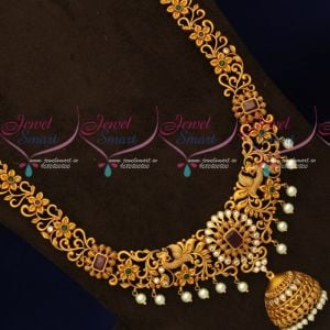 Floral Jewellery Collections Matte Gold Plated Haram AD Stones Latest Imitation