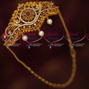 Reddish Matte Gold Plated Chain Vanki Bajuband Latest Design AD Stones Online