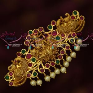 Polki AD Ruby Emerald Stones Temple Matte Gold Plated Hair Clips Online