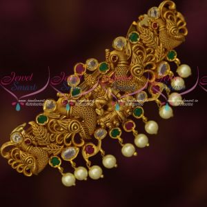 Multi Colour AD Polki Stones Temple Intricately Designed Hair Clips Online