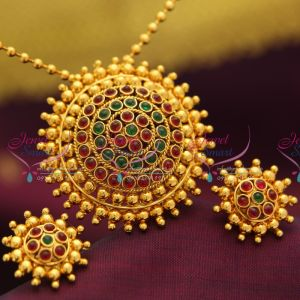 Indian-Fashion-Temple-Jewelry-Kempu-Stones-Gold-Plated-Pendant-Chain-Earrings