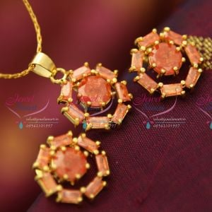 small-semi-precious-round-pendant-earrings-free-chain-fancy-imported-jewellery-set-online