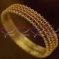 B9771 Ruby AD Red Stones 4 Pieces Set Thin Round Design Bangles Fancy Buy Online