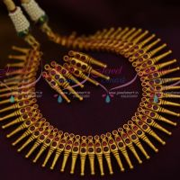 Ruby Red Kerala Style Design Matte Dull Gold Plated Fancy Jewellery Set Online