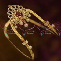 Traditional South Indian Arm Jewellery Vanki Bajuband AD Stones Ruby White Online