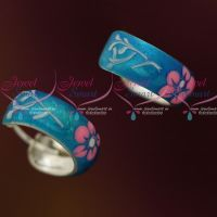 Shiny Blue Enamel Floral Painting Silver Jewellery Bali Earrings Shop Online Daily Wear Collections