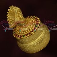 Peacock Design Sindoor Kum Kum Box Gold Plated Intricate Design Auspicious South Indian Traditional