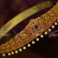 32-42 Inches Latest Bridal South Indian Jewellery AD Oddiyanam Nakshi Matte Antique Reddish Gold Online