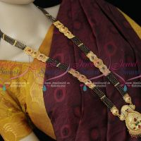 32 Inches 5 Line Black Beads Mangalsutra Forming Gold Plated Pendant Latest Traditional Premium Finish Jewellery Shop Online