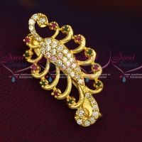New Imitation AD Stones Peacock Fashion Jewellery Saree Pins Collection Online