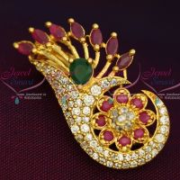 Ruby Emerald White Imitation AD Stones Stylish Design Fashion Jewellery Saree Pins Collection Online