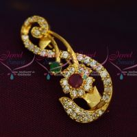 Ruby Emerald White Imitation AD Stones Stylish S Design Fashion Jewellery Saree Pins Collection Online