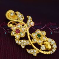 Ruby Emerald White Imitation AD Stones Stylish Floral Fashion Jewellery Saree Pins Collection Online
