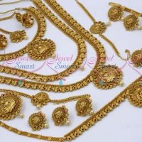 Long Medium Short 3 Necklace Combo Bridal Jewellery Latest Design Matte Copper Tone Reddish Collections