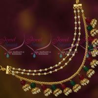 Red Green Pearl Earchains Maatil Bead Drops Gold Plated Fashion Jewellery Shop Online