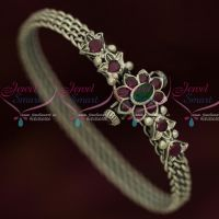 Antique Silver Plated Ruby Emerald Screw Openable Kada Latest Designs Shop Online