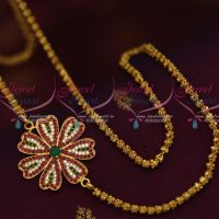 3.5 MM Gold Plated Dhasavadar Chain 24 Inches Multi Colour Mugappu South Indian Imitation Jewellery Designs Online