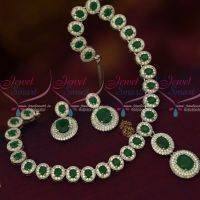 Diamond Finish Jewellery Rhodium Emerald Green AD Silver Plated Imitation Collections Online
