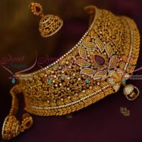 Bridal Choker Fashion Jewellery Matte Antique Gold Plated Broad Ruby Emerald White AD Stones