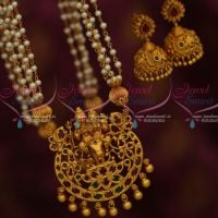Lord Shiva Parvathy Temple Jewelry Pearl Mala Jhumka Earrings Traditional Latest Online