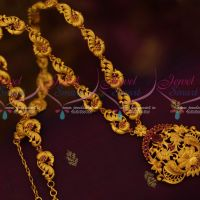 Ruby Stones South Indian Jewellery Peacock Haram Matte Gold Plated Fashion Ornaments Online