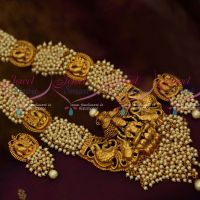 Broad Temple Pendant Pearl Danglers Chain Traditional Jewellery Haram Latest South Collections
