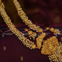 Pearl Danglers Chain Temple Pendant Latest Traditional Matte Gold Plated Designs Shop Online